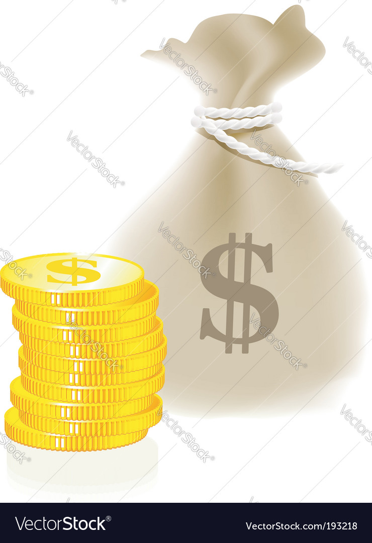 Moneybag and coin vector | Price: 1 Credit (USD $1)
