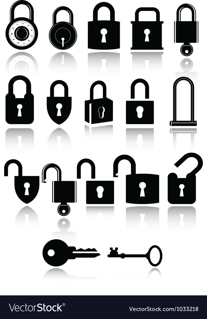 Set of lock and key icons vector | Price: 1 Credit (USD $1)