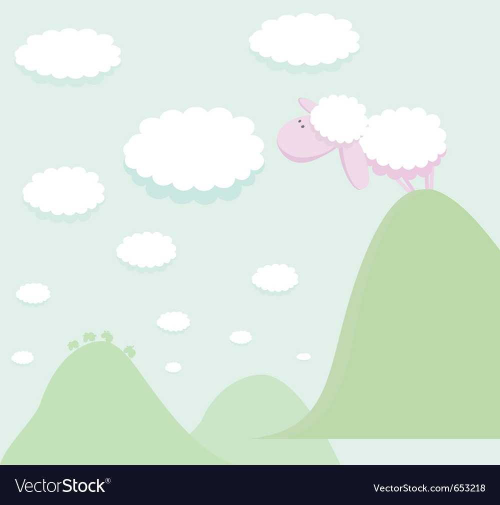 Sheep standing on top of a mountain looking at the vector | Price: 1 Credit (USD $1)
