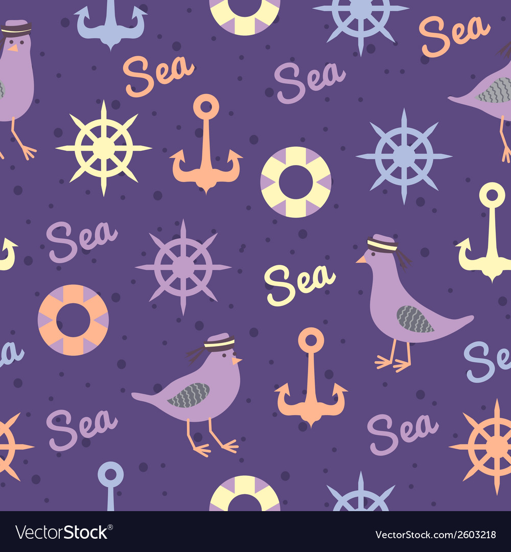 Vintage pattern with seagulls anchors and vector | Price: 1 Credit (USD $1)