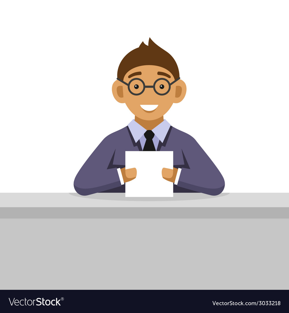 Young man on glasses reading newspaper vector | Price: 1 Credit (USD $1)
