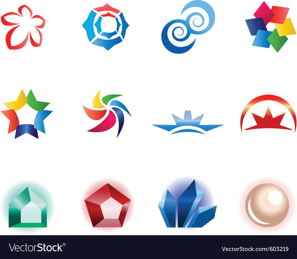 12 colorful symbols set 1 vector | Price: 1 Credit (USD $1)