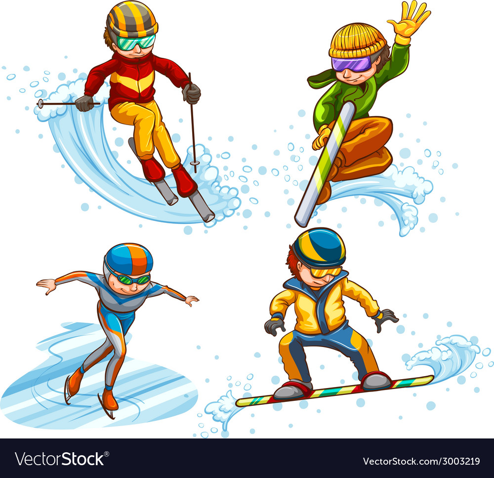 A simple coloured sketch of people skating vector | Price: 1 Credit (USD $1)