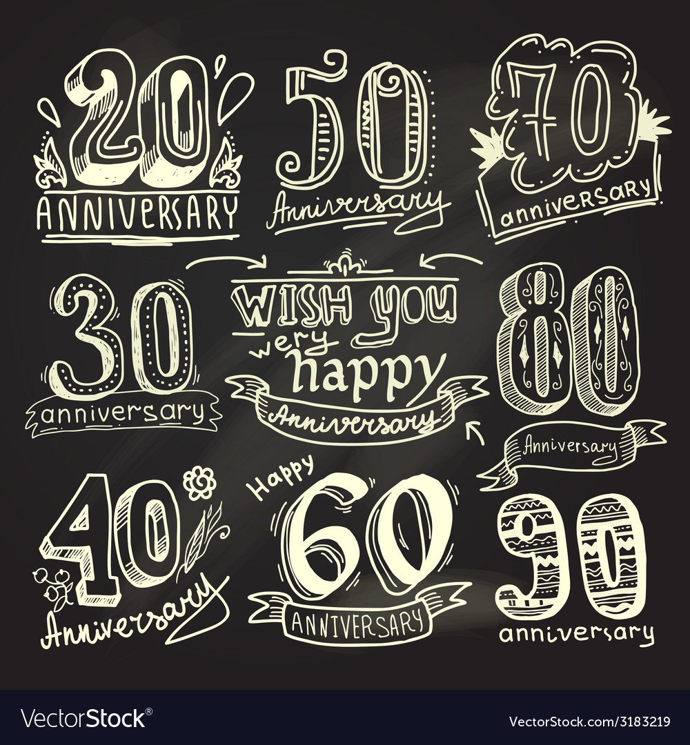 Anniversary signs chalkboard set vector | Price: 1 Credit (USD $1)