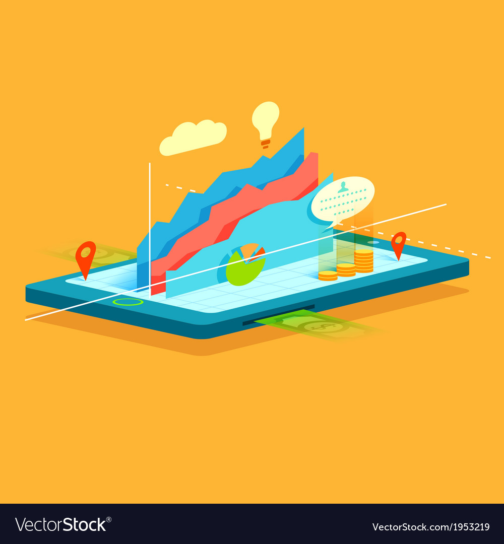 Business graph on mobile screen vector   Price: 1 Credit (USD $1)