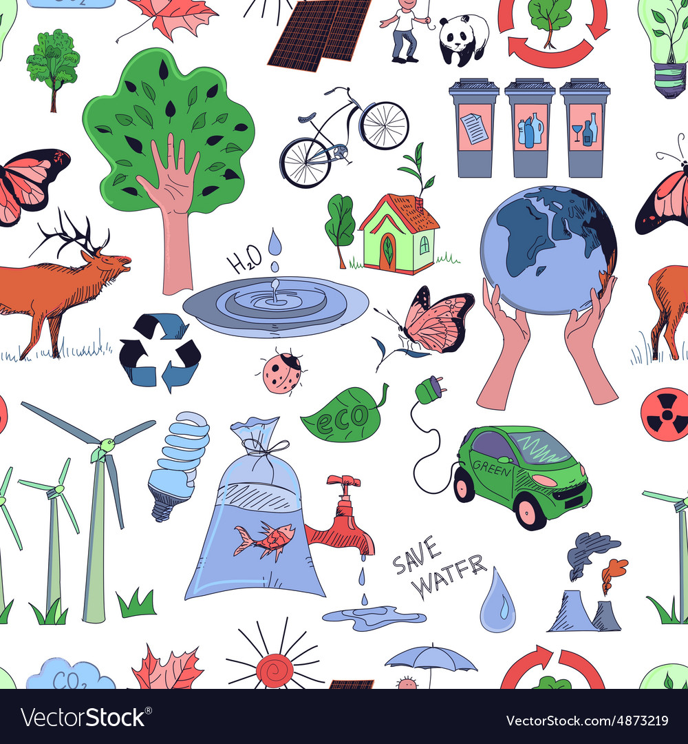 Colored ecology and recycle doodle pattern vector