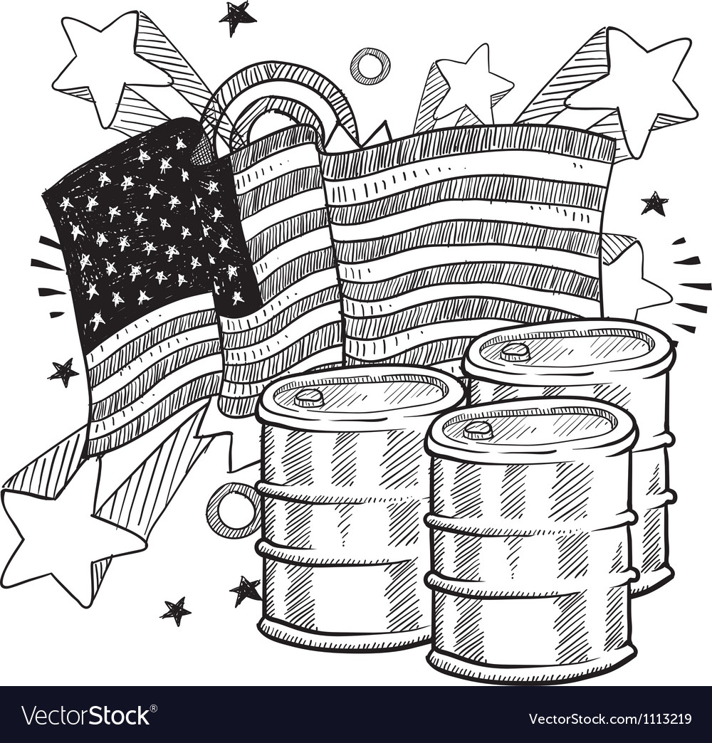 Doodle americana oil bw vector | Price: 1 Credit (USD $1)