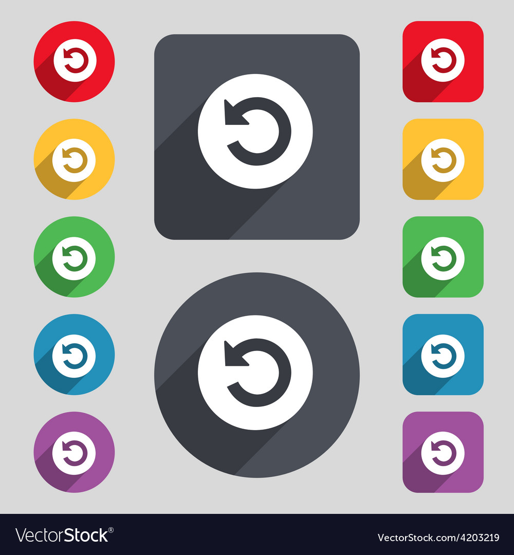 Icon sign a set of 12 colored buttons and a long vector | Price: 1 Credit (USD $1)