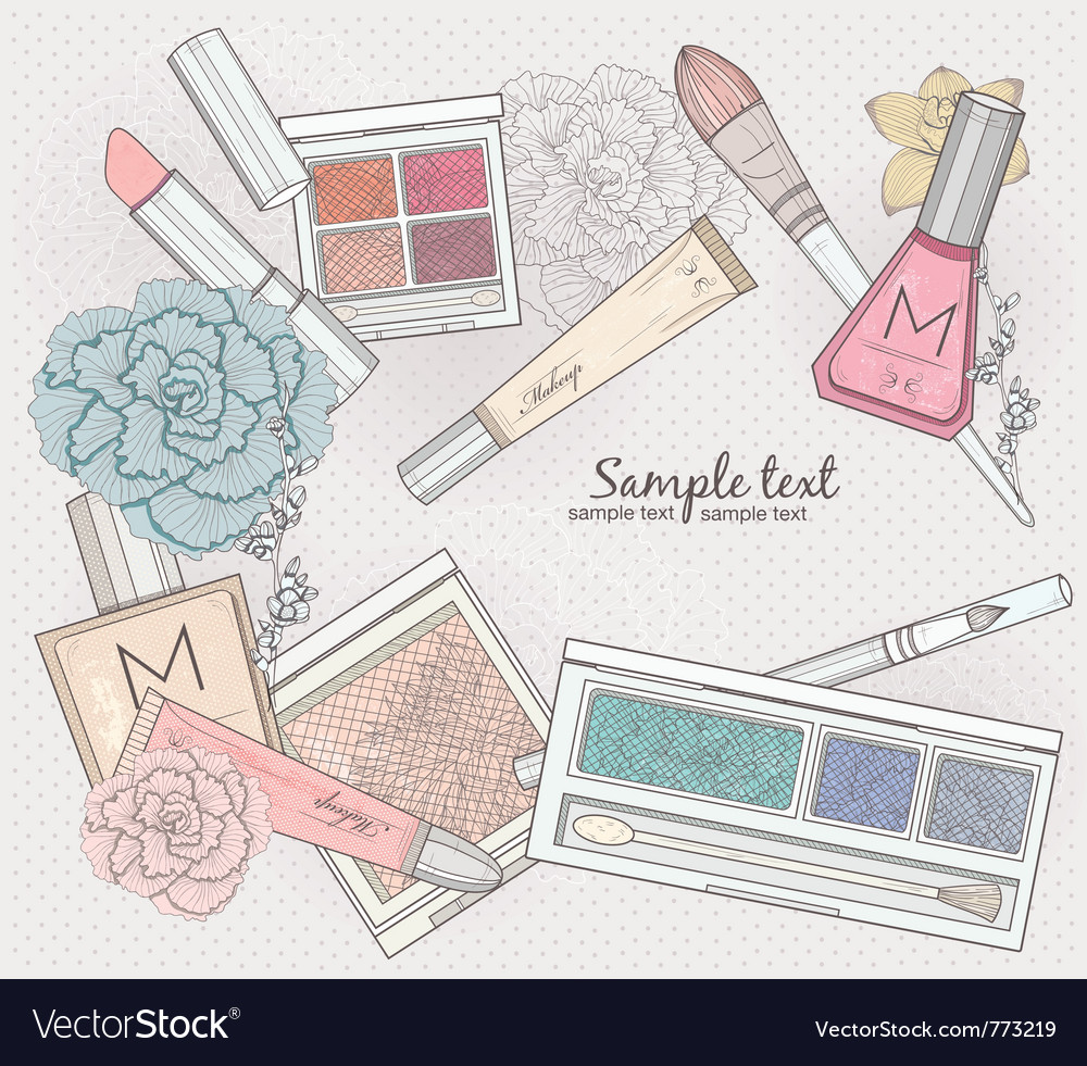 Makeup and cosmetics background vector | Price: 3 Credit (USD $3)