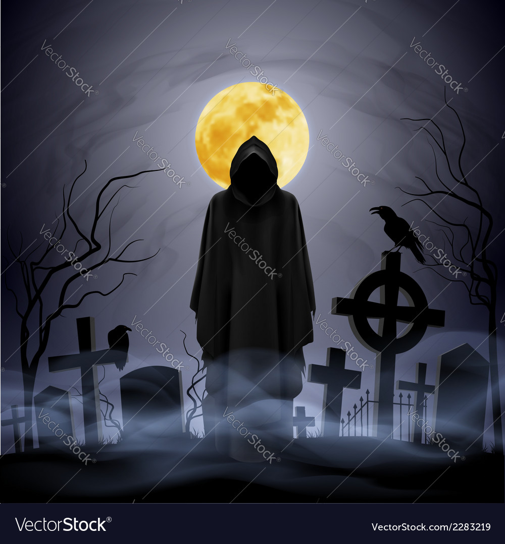 Night cemetery vector | Price: 1 Credit (USD $1)