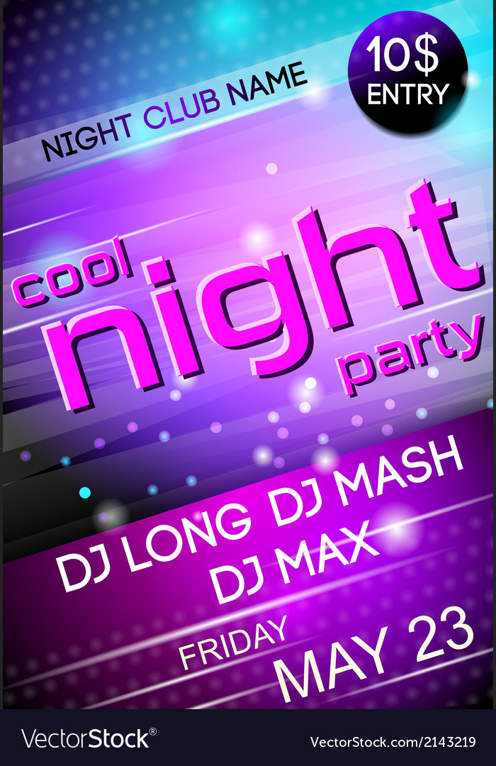 Night party poster vector | Price: 1 Credit (USD $1)