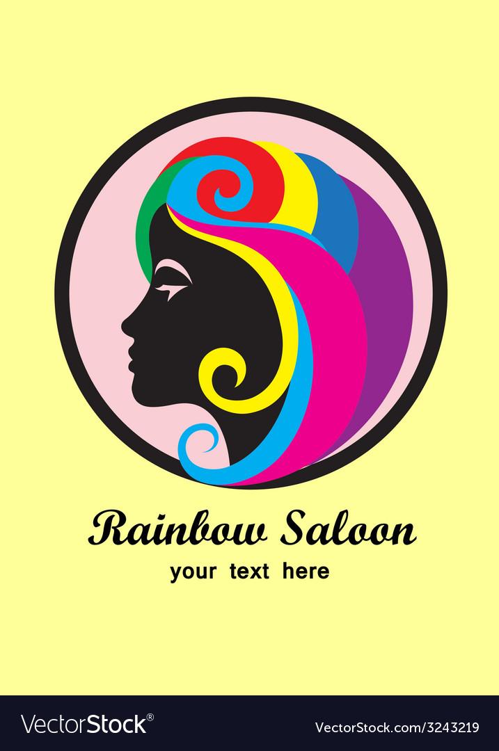 Rainbow hair saloon logo design vector | Price: 1 Credit (USD $1)