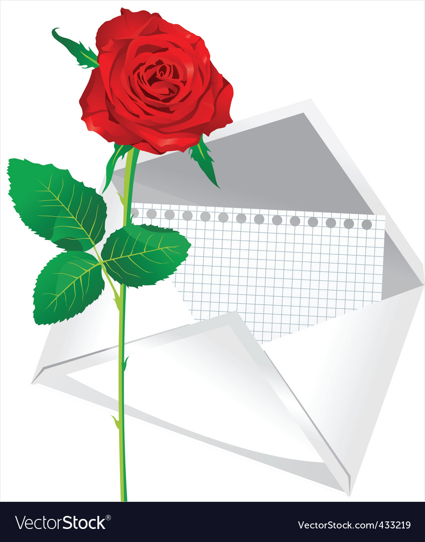 Rose and envelope vector   Price: 1 Credit (USD $1)