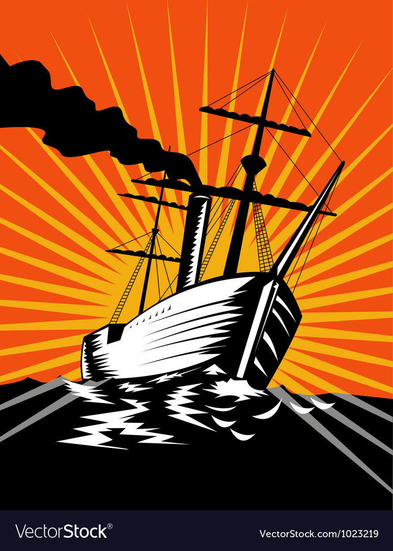 Sailing ship retro woodcut vector | Price: 1 Credit (USD $1)