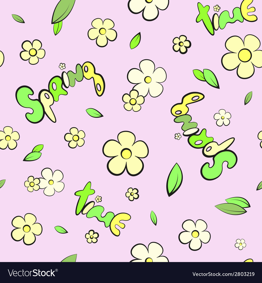 Seamless leaves and spring flowers pattern vector | Price: 1 Credit (USD $1)