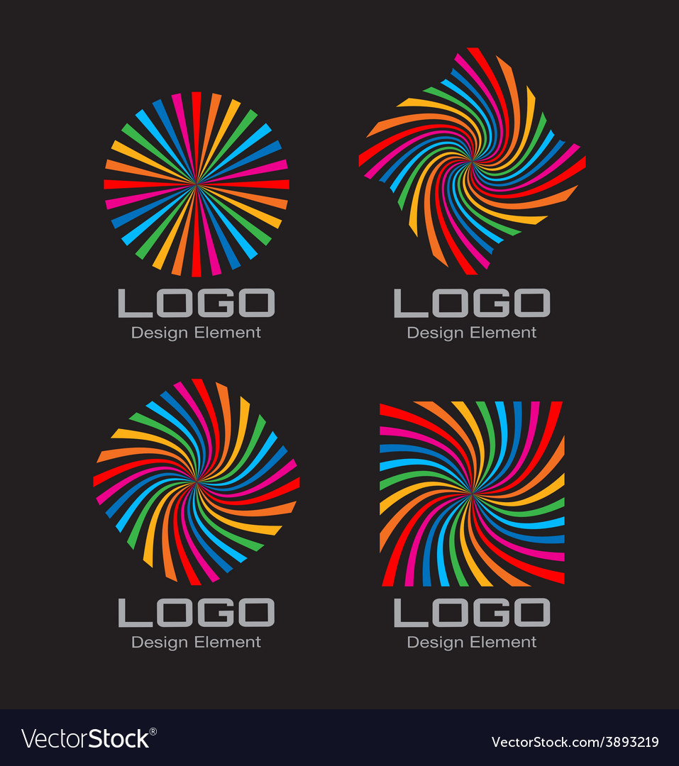 Set of colorful bright rainbow spiral logo vector | Price: 1 Credit (USD $1)