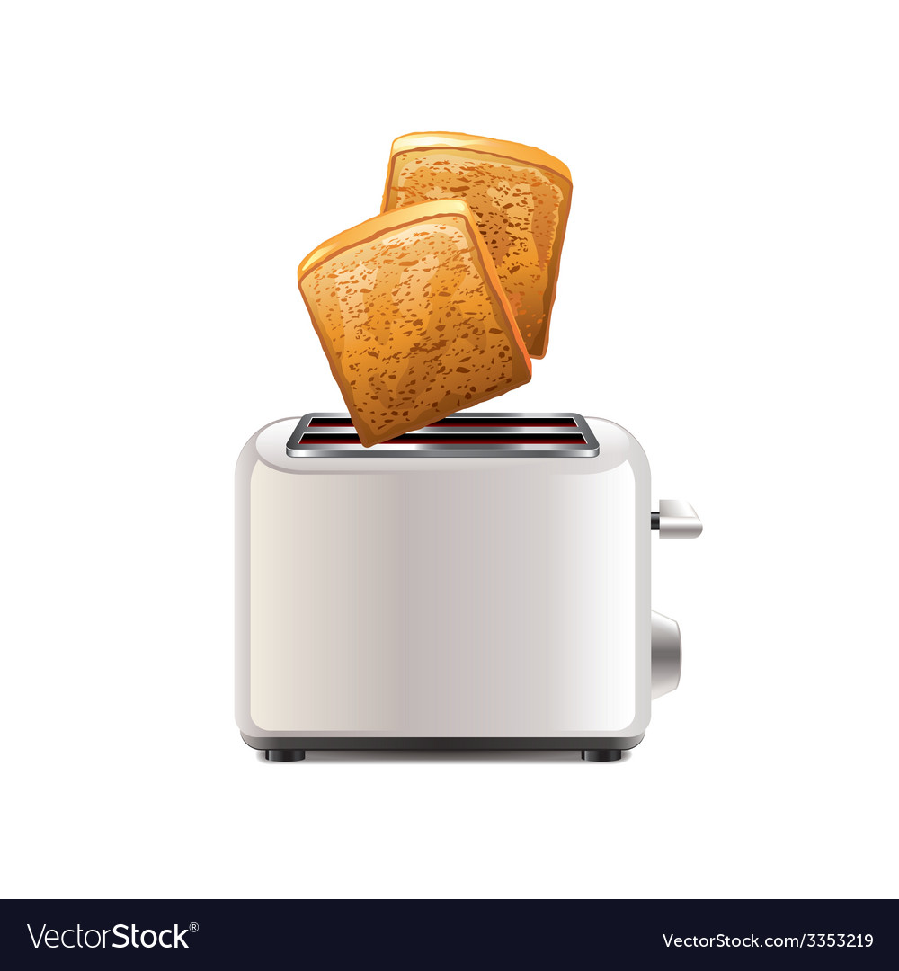 Toaster with toast isolated vector | Price: 3 Credit (USD $3)