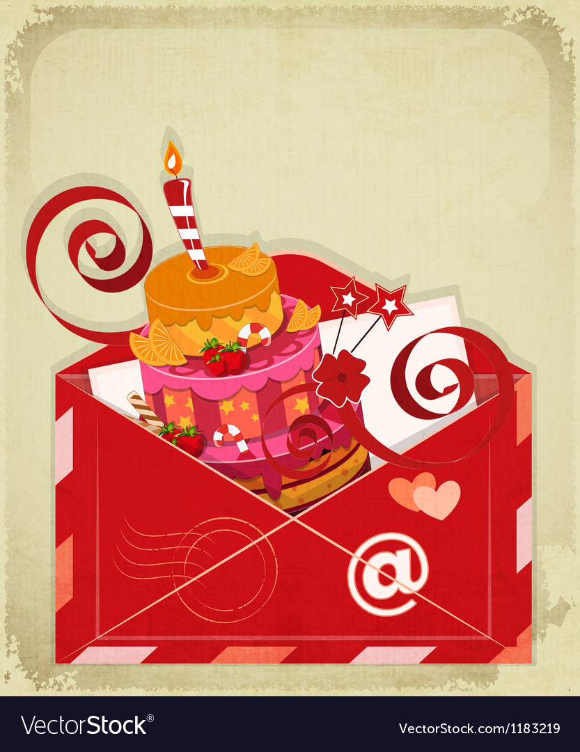 Vintage birthday card with chocolate berry cake vector | Price: 3 Credit (USD $3)