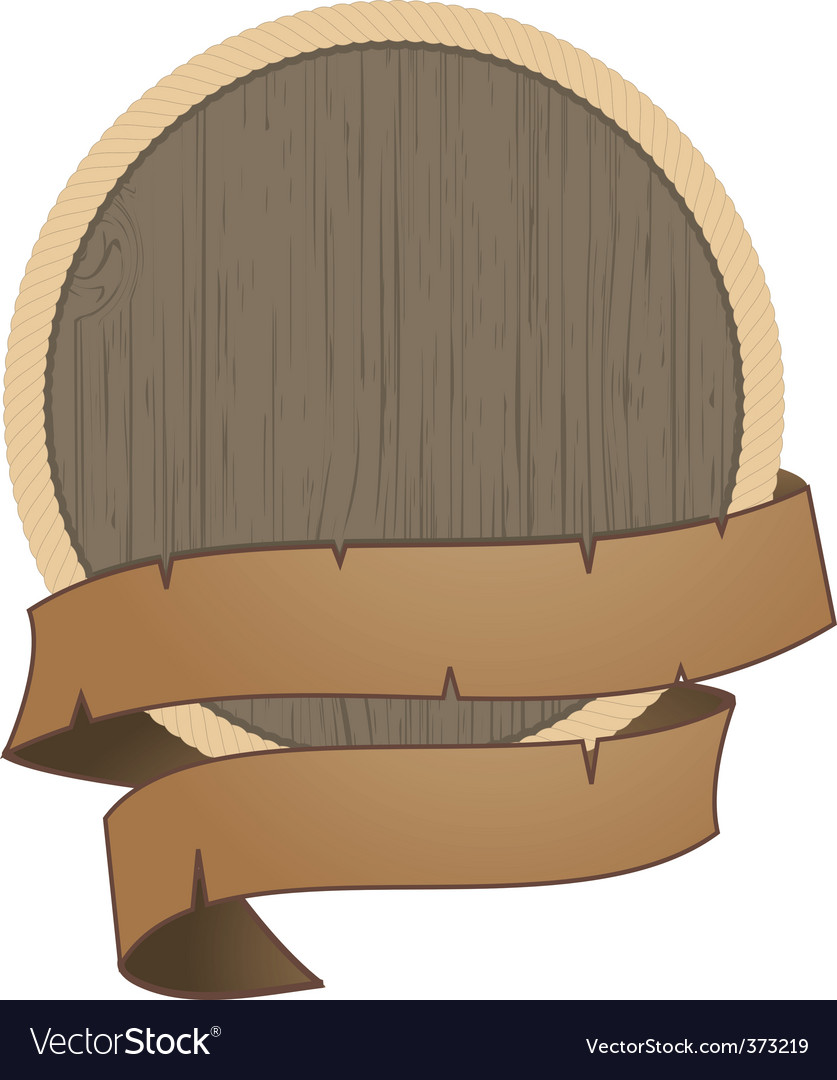 Wooden shield with rope detail vector | Price: 1 Credit (USD $1)