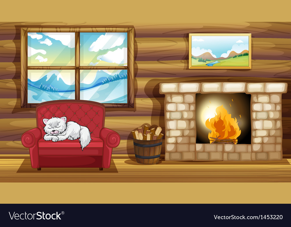 A cat sleeping at the sofa near the fireplace vector | Price: 1 Credit (USD $1)