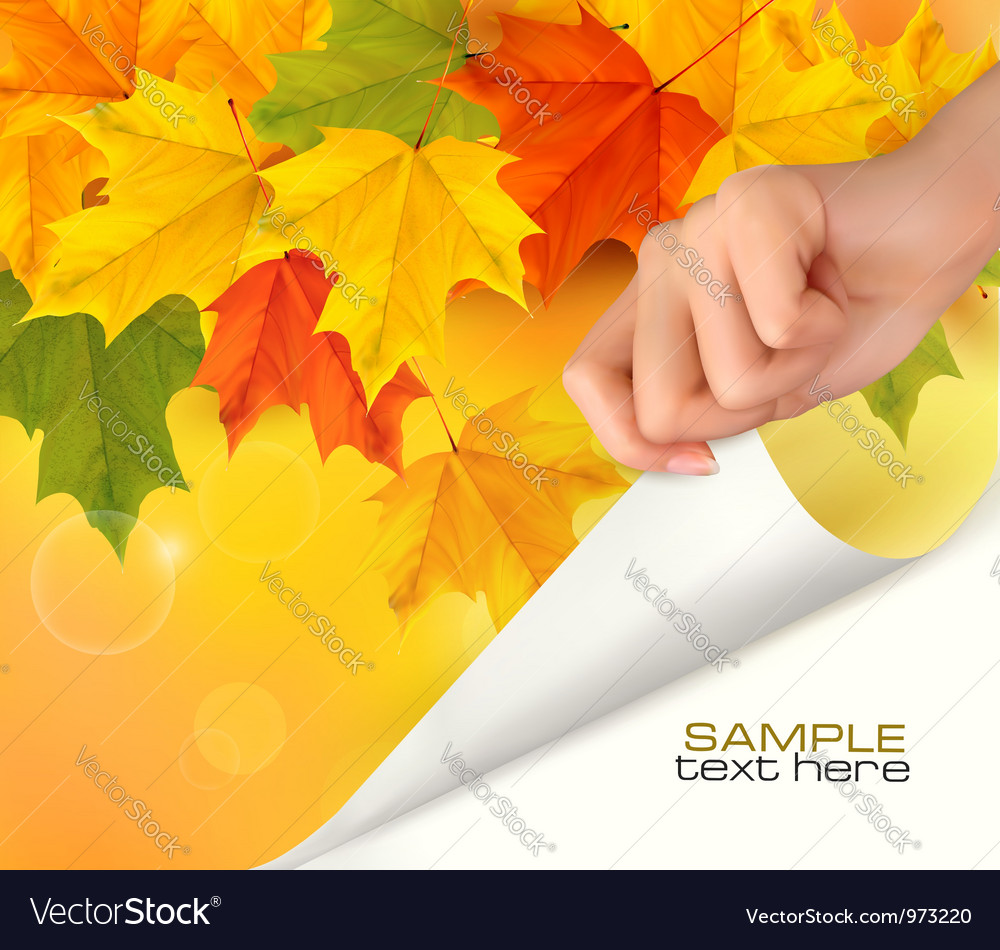 Autumn background with hand vector | Price: 1 Credit (USD $1)