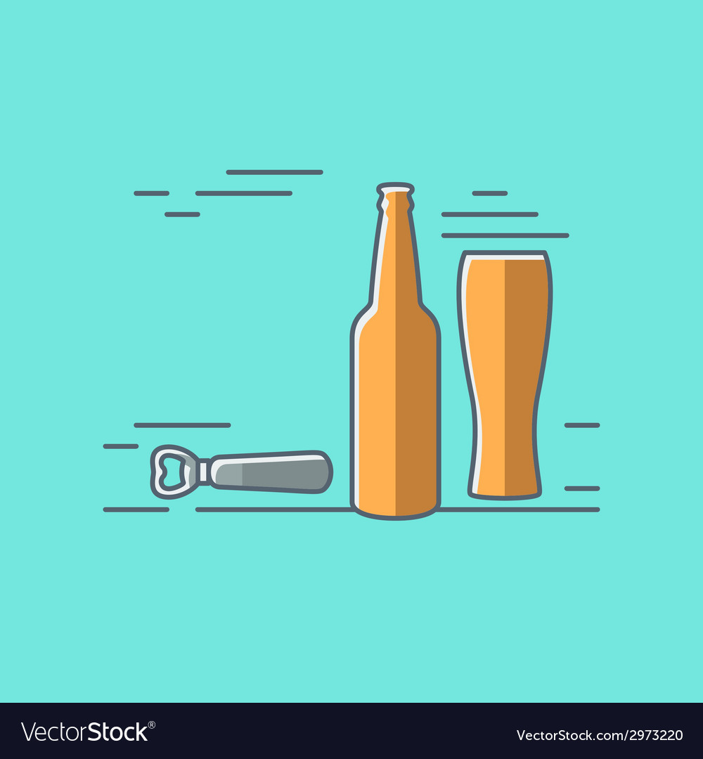 Beer glass bottle flat design background vector | Price: 1 Credit (USD $1)