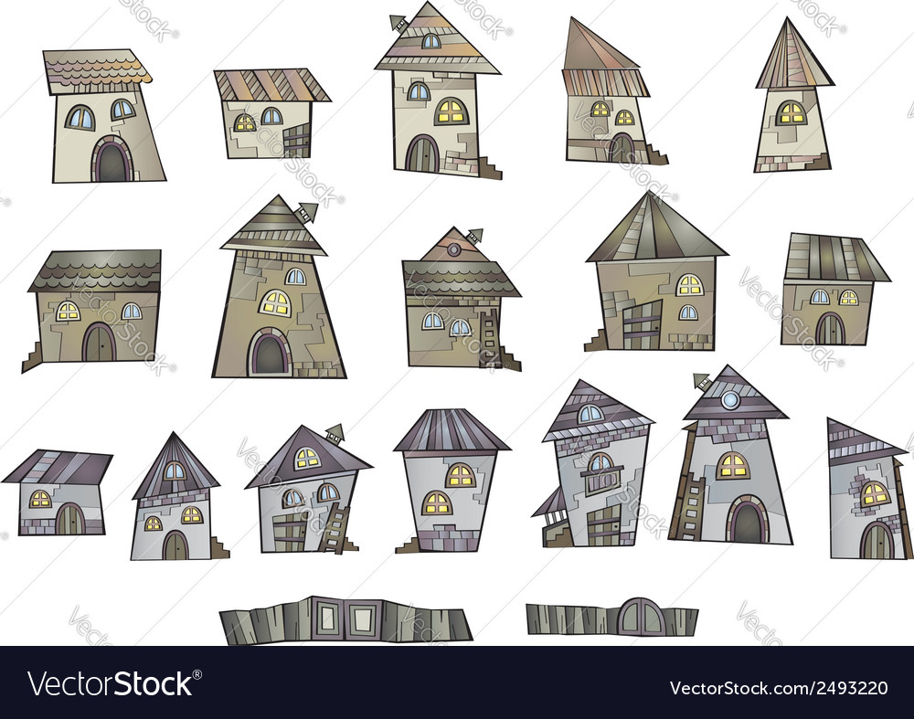 Cartoon fairy tale drawing houses vector | Price: 1 Credit (USD $1)