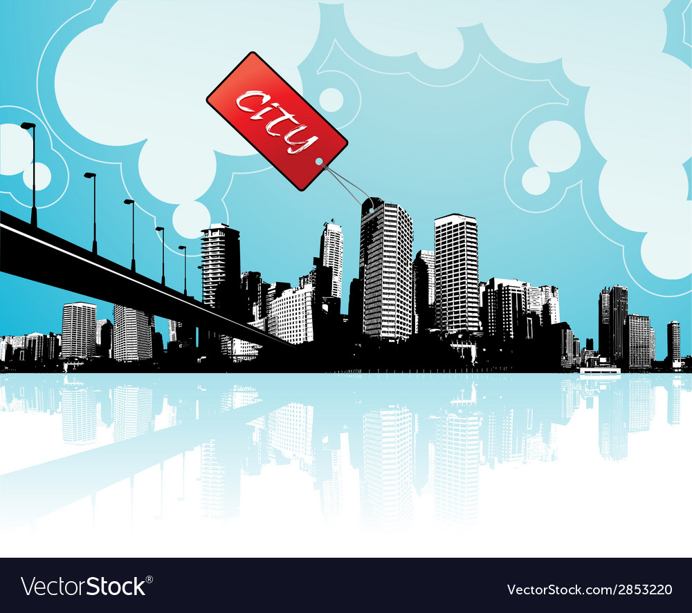 City scape with sky and clouds at the background vector | Price: 1 Credit (USD $1)