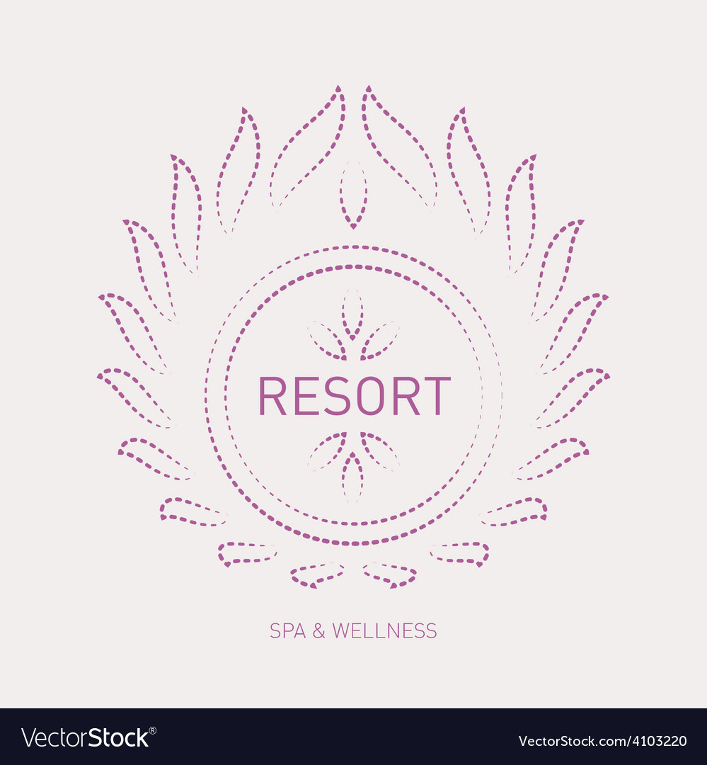 Floral logo template for wellness salon spa resort vector | Price: 1 Credit (USD $1)