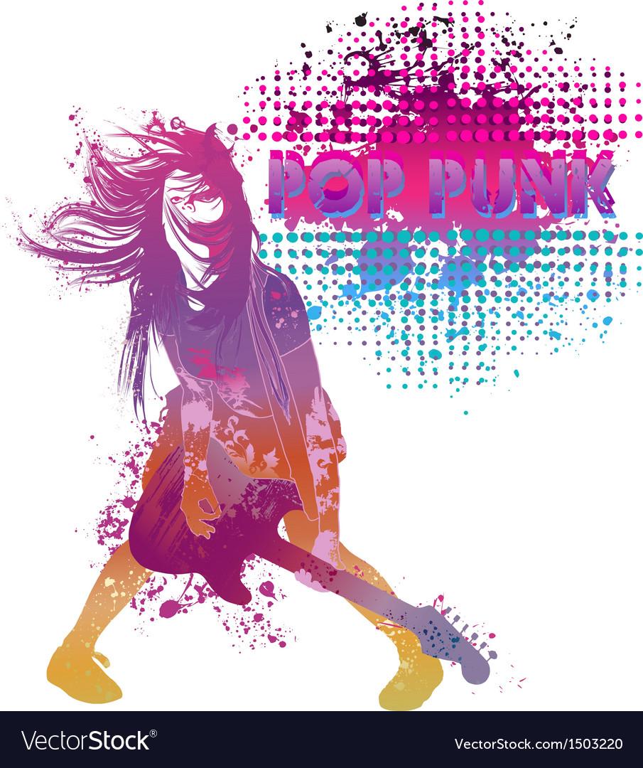 Girl playing guitar pop punk vector | Price: 3 Credit (USD $3)