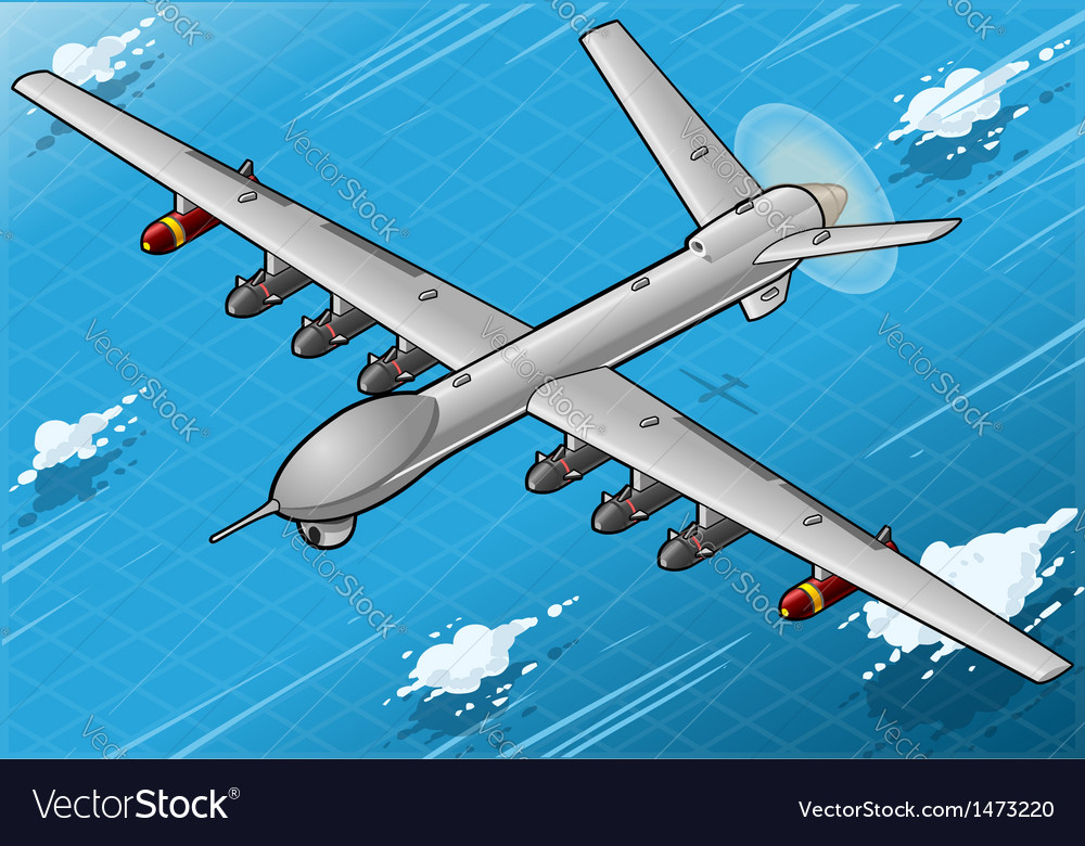 Isometric drone airplane flying in front view vector | Price: 1 Credit (USD $1)