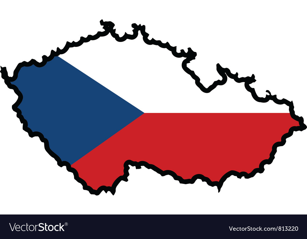 Map in colors of czech republic vector | Price: 1 Credit (USD $1)