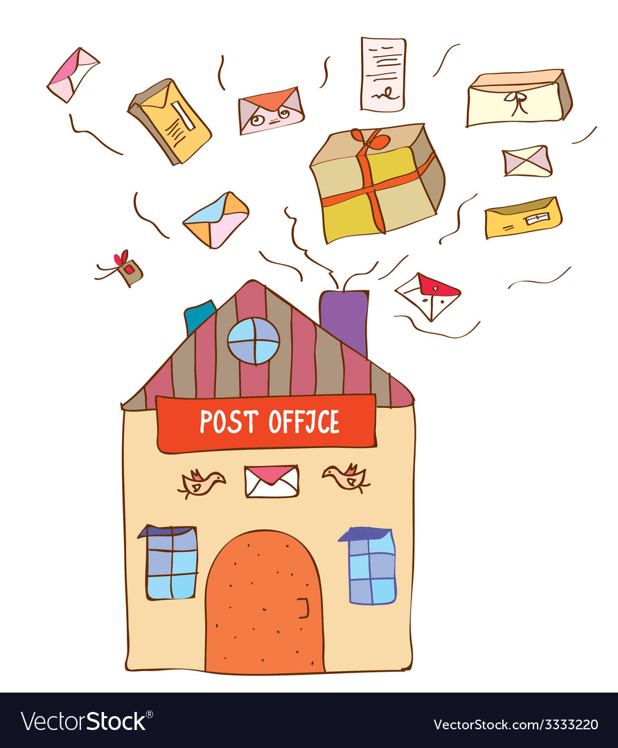 Post office with many letters and boxes vector | Price: 1 Credit (USD $1)