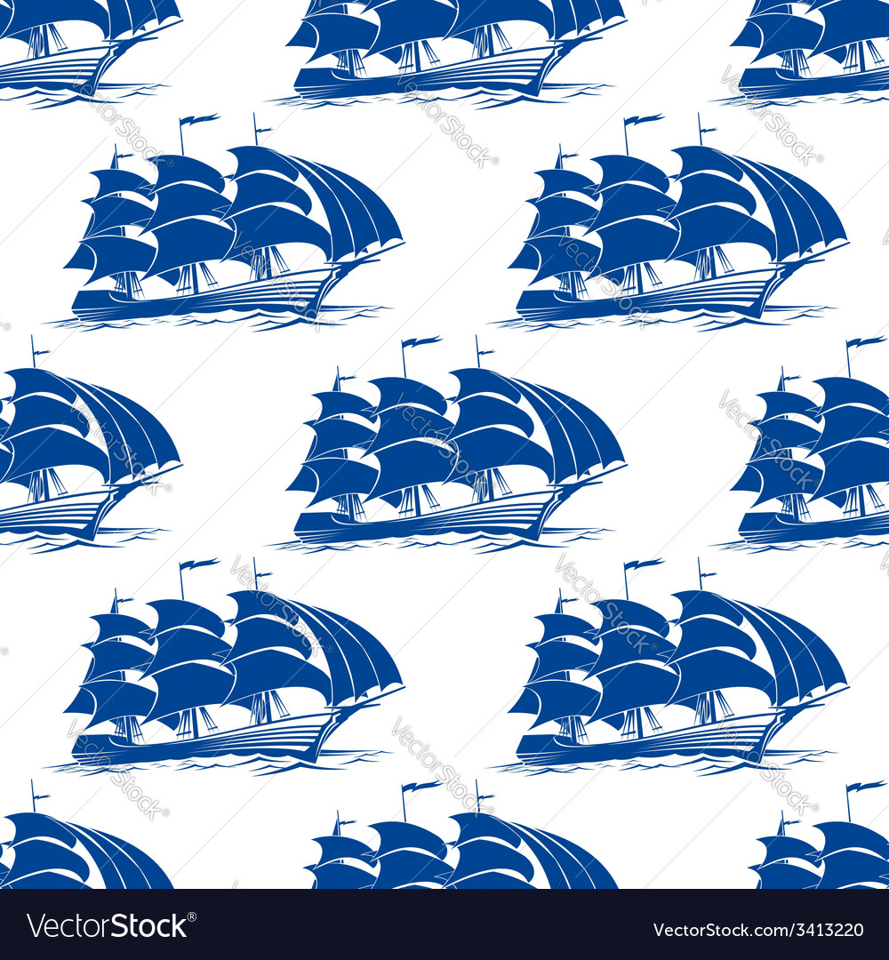 Seamless pattern of a fully rigged sailing ship vector | Price: 1 Credit (USD $1)