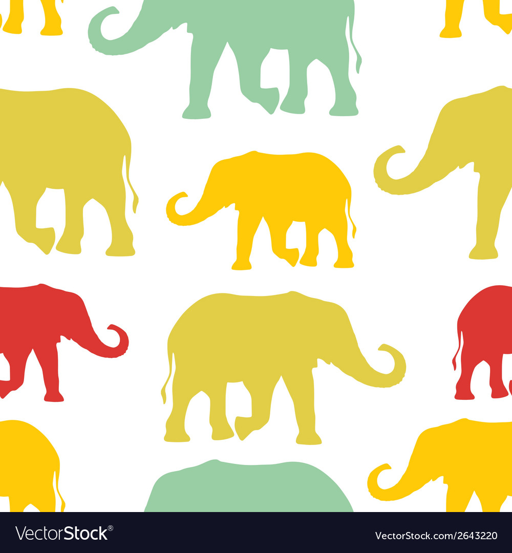 Seamless pattern with colorful silhouette vector | Price: 1 Credit (USD $1)