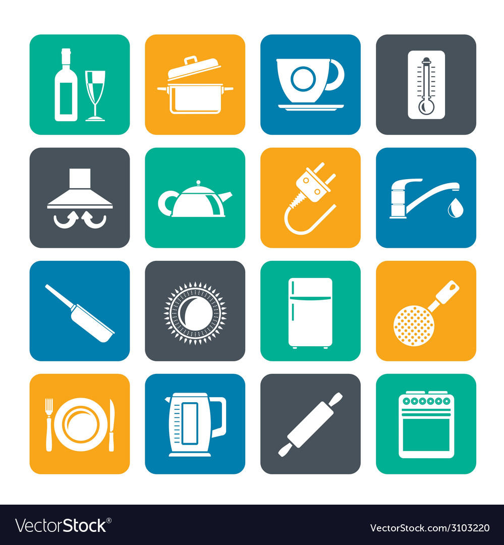 Silhouette kitchen objects and accessories icons vector | Price: 1 Credit (USD $1)