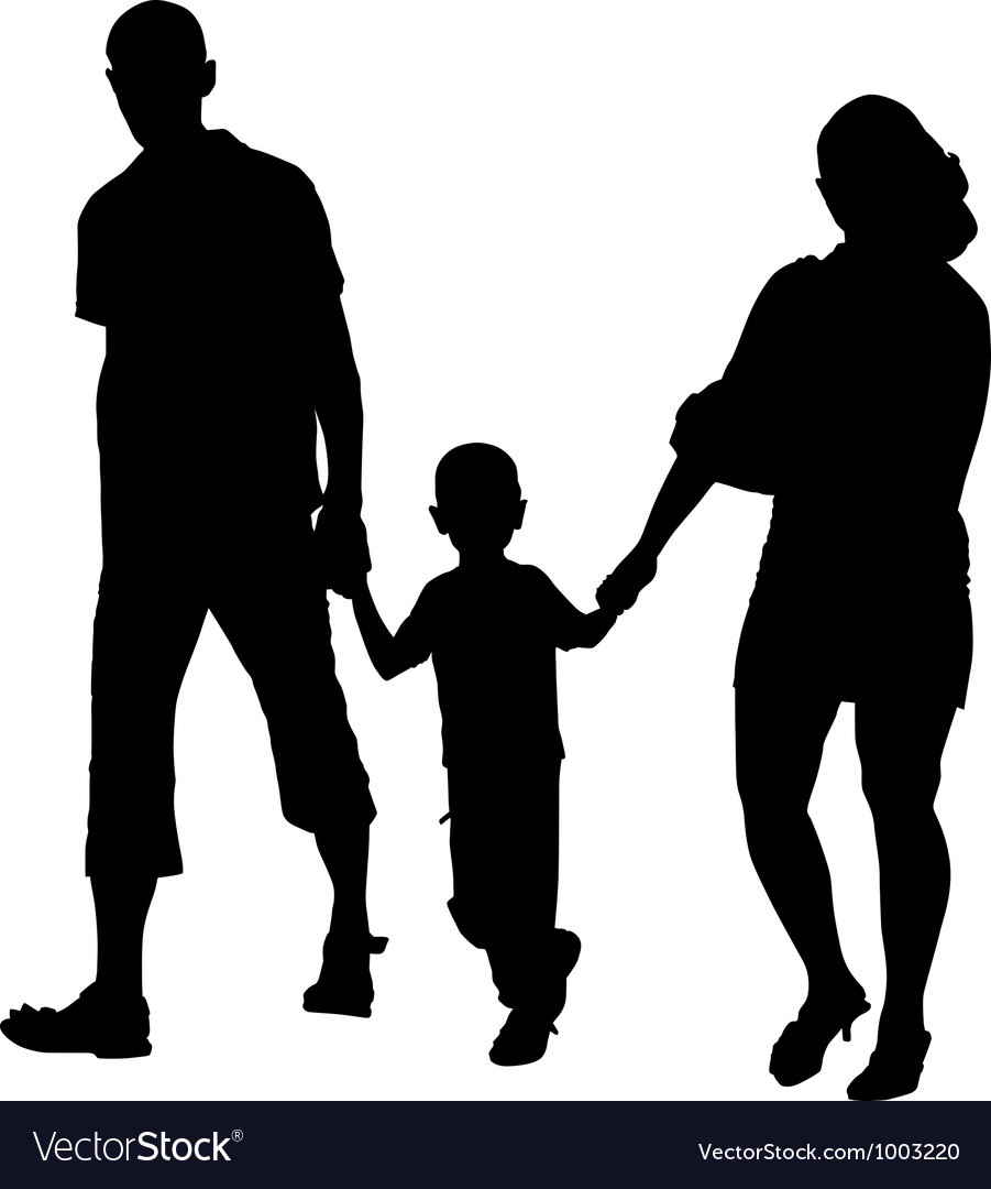 Silhouette of couples with baby vector | Price: 1 Credit (USD $1)