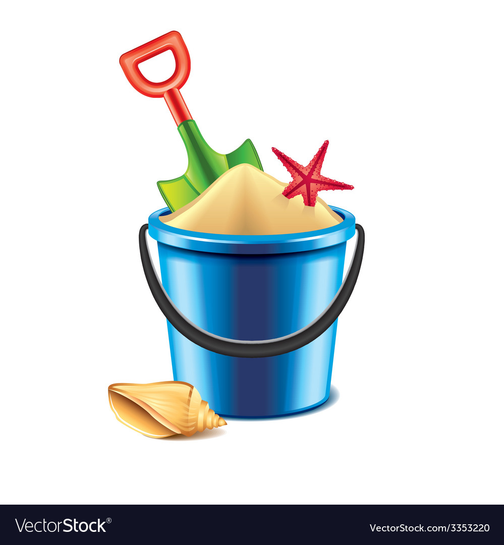 Toy bucket with sand isolated vector | Price: 3 Credit (USD $3)