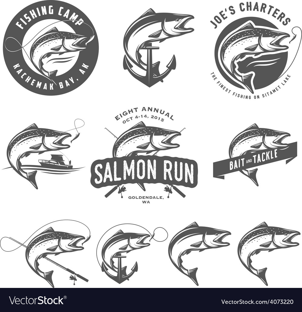 Vintage salmon fishing emblems and design elements vector | Price: 1 Credit (USD $1)