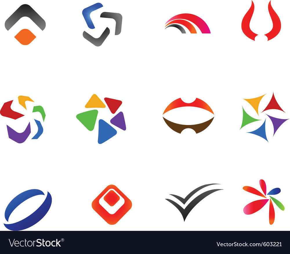 12 colorful symbols set 2 vector | Price: 1 Credit (USD $1)
