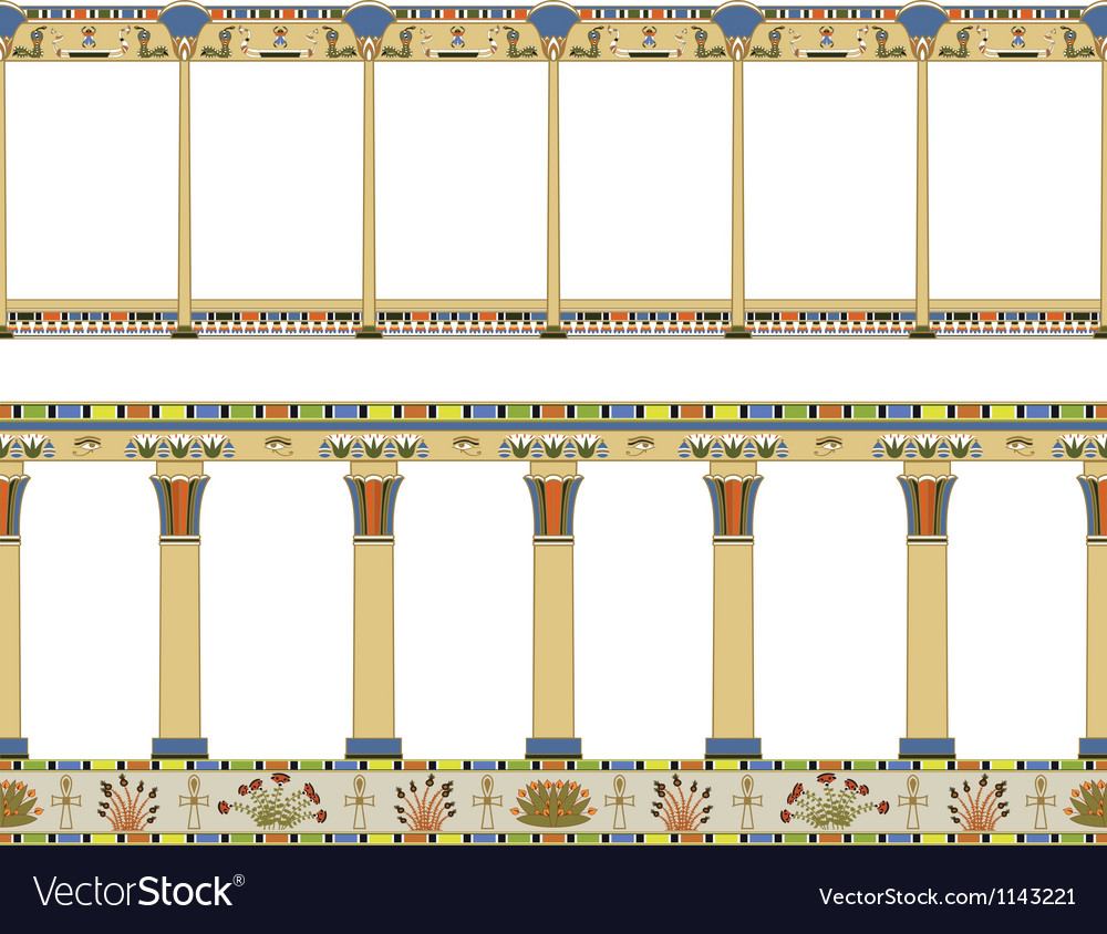 Ancient egyptian colonnade seamless pattern vector | Price: 3 Credit (USD $3)