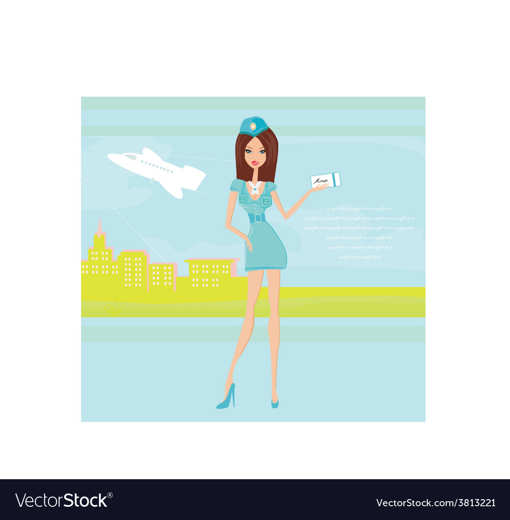 Beautiful stewardess with ticket at the airport vector | Price: 1 Credit (USD $1)