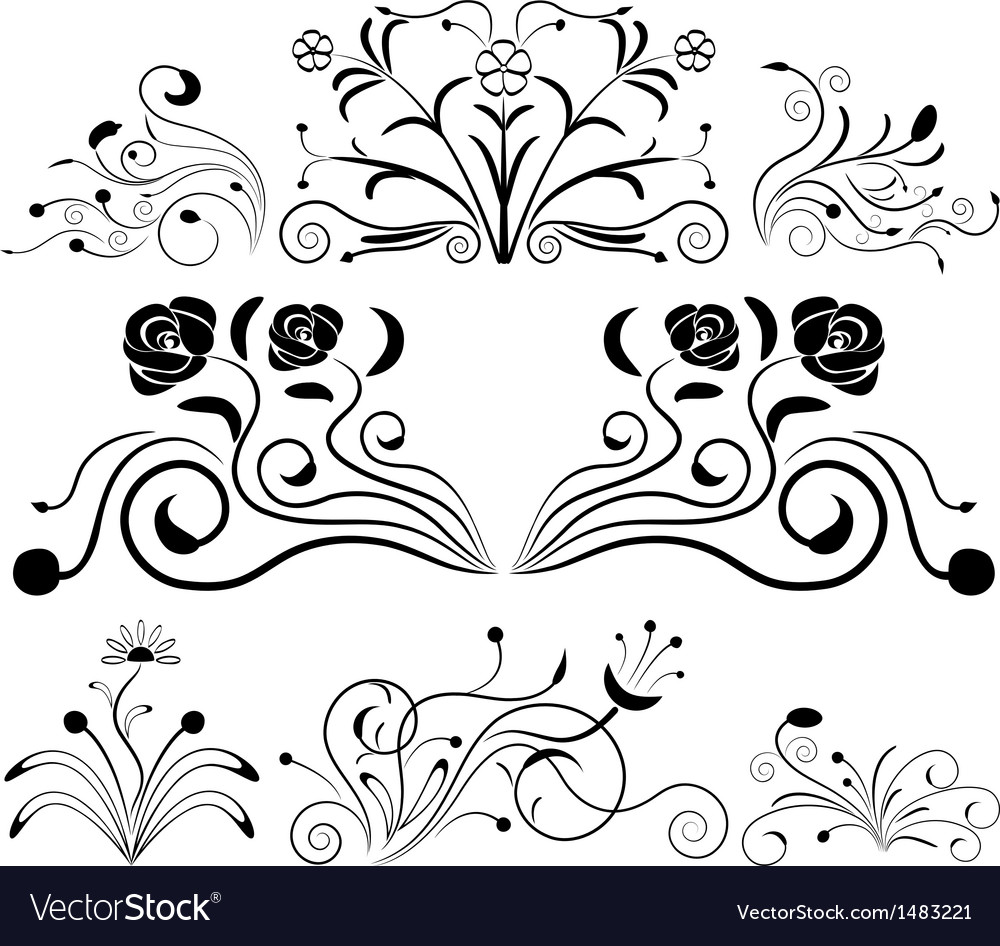 Black and white floral design elements vector | Price: 1 Credit (USD $1)