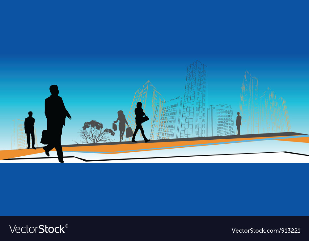 Business people skyline vector | Price: 1 Credit (USD $1)
