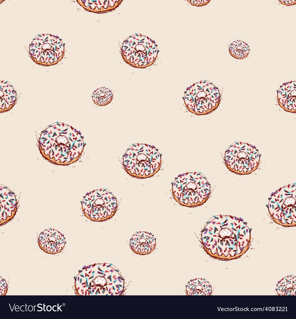 Donut with white cream hand drawn sketch on pink vector | Price: 1 Credit (USD $1)
