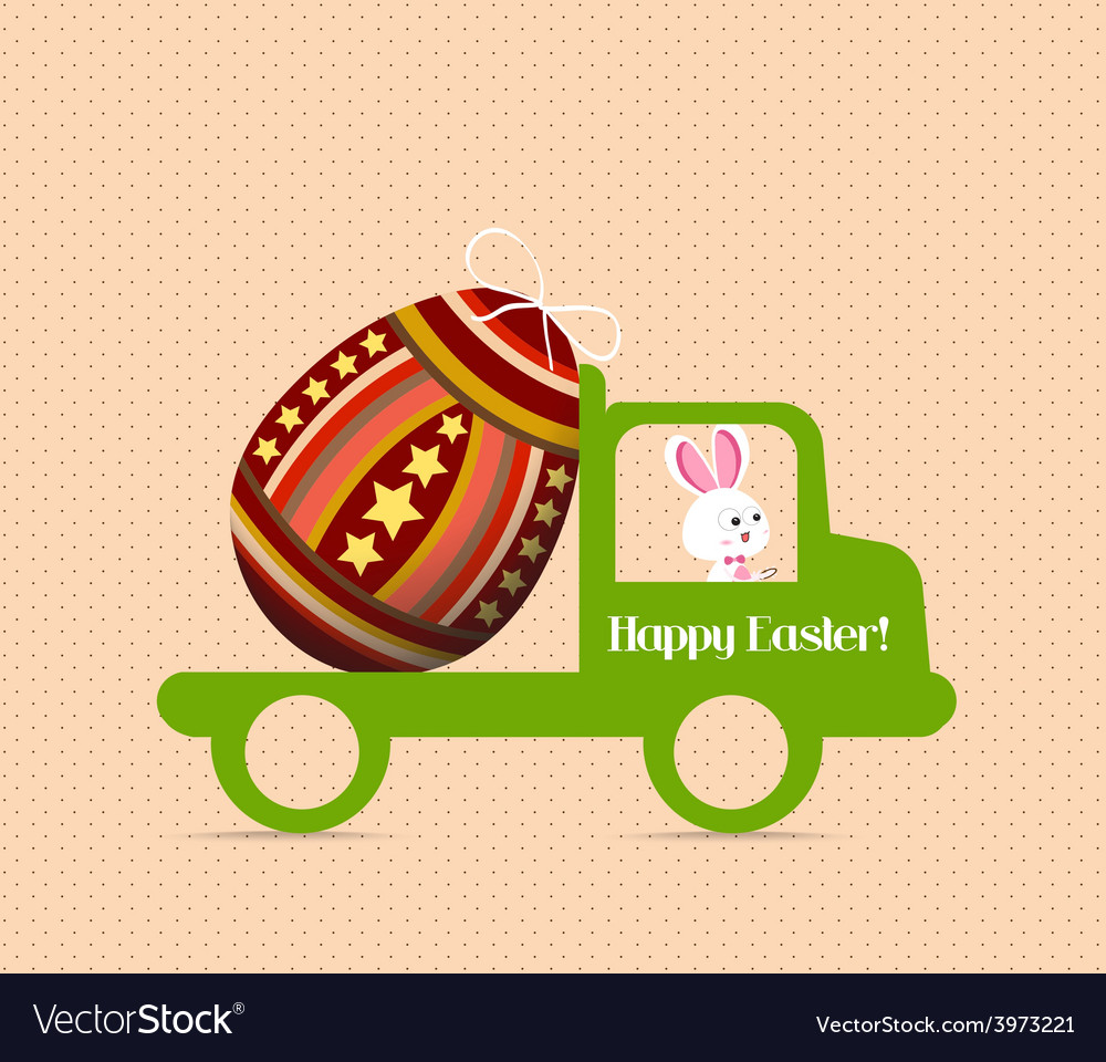 Easter egg bunny carrying a egg on the car vector | Price: 1 Credit (USD $1)