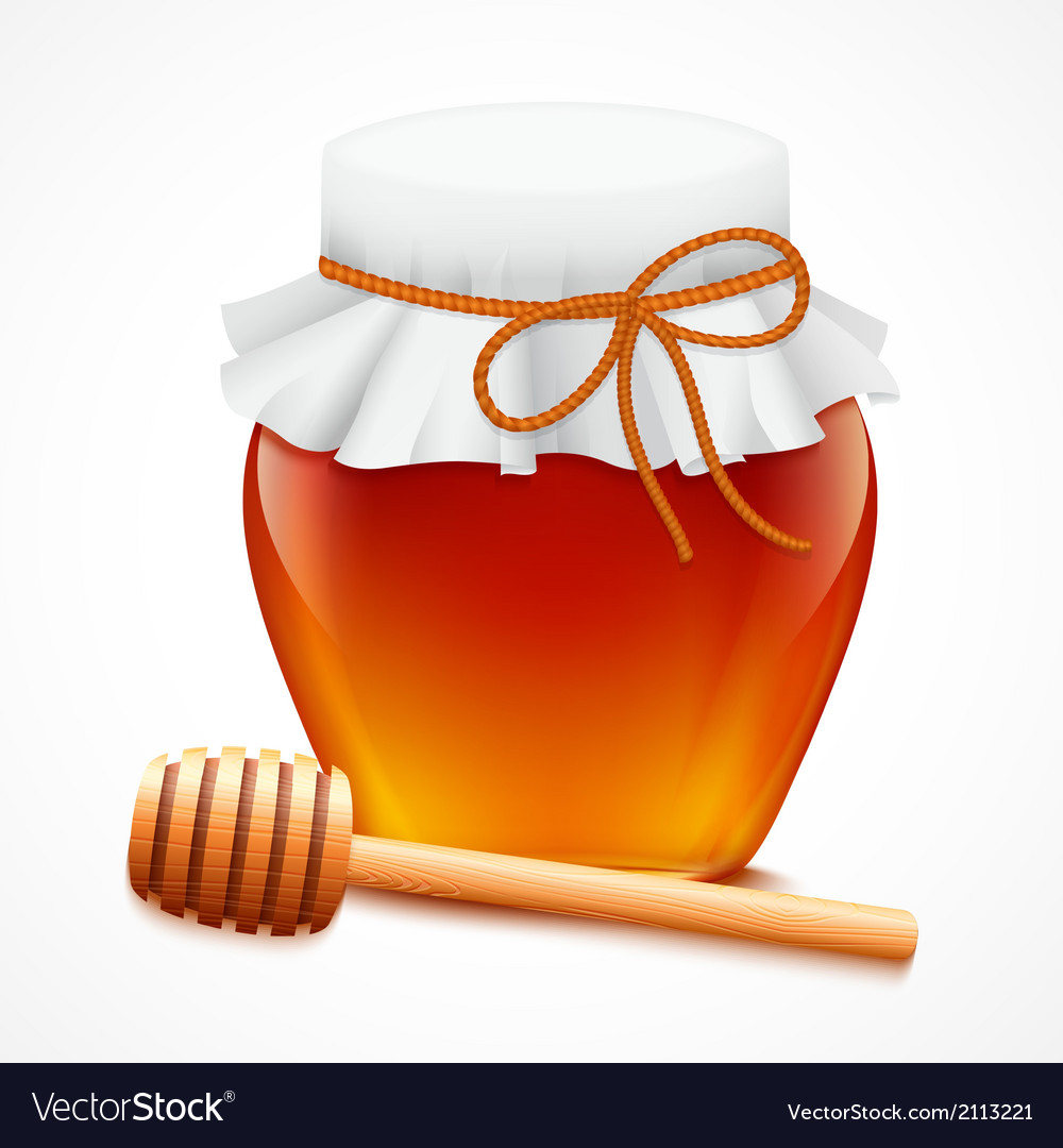 Honey jar with dipper emblem vector | Price: 1 Credit (USD $1)