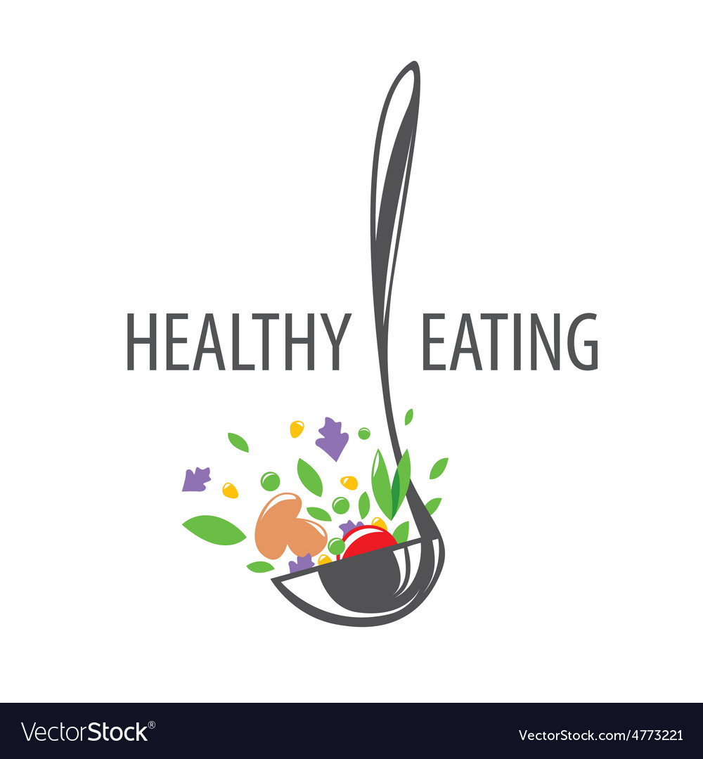 Logo ladle and vegetables for a healthy diet vector | Price: 1 Credit (USD $1)