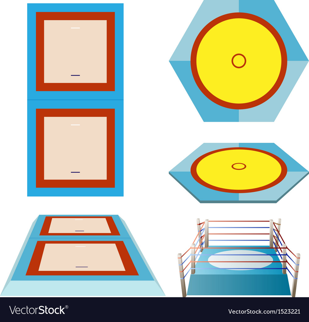 Olympic sports martial art field set vector | Price: 1 Credit (USD $1)