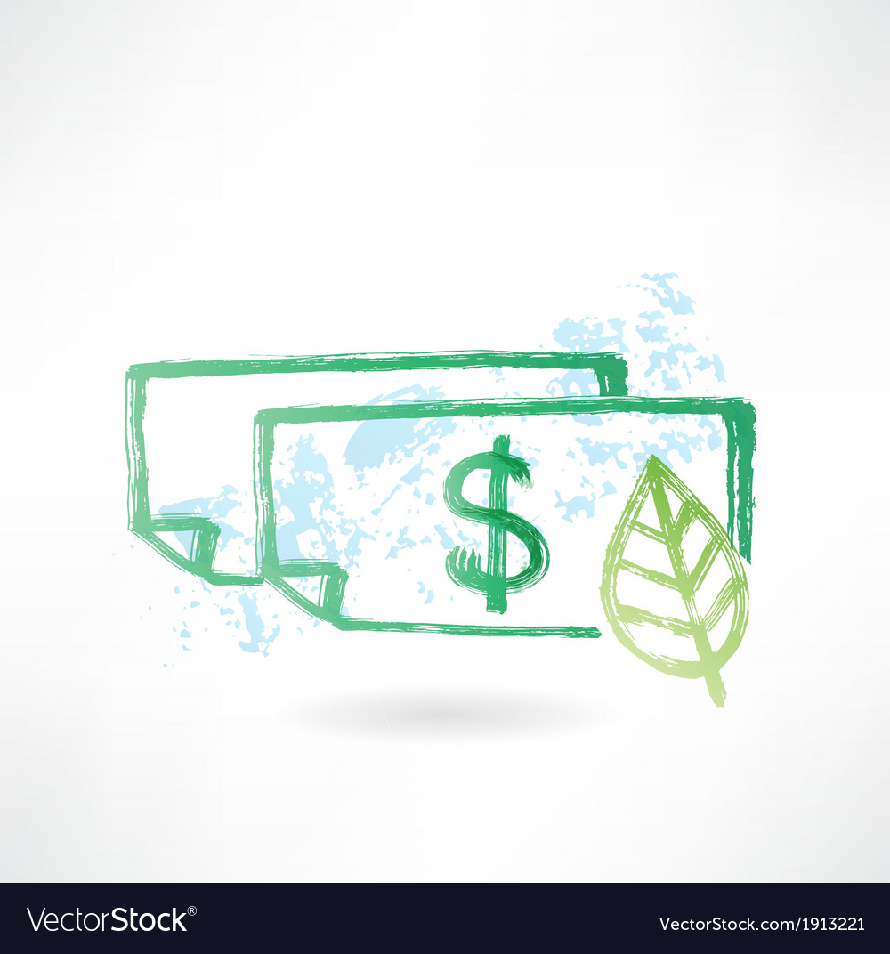 Paper dollar and leaf grunge icon vector | Price: 1 Credit (USD $1)